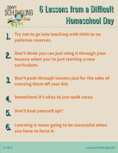 Difficult Day Homeschool Resource